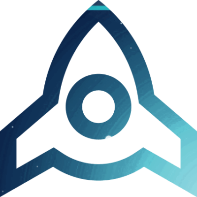 Rocket Icon with Blue-Green Background