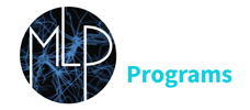 MLP Logo - White Text in Circle with Blue Black Brain Neuron Background and Machine Learning in White Text Programs in Cyan Text