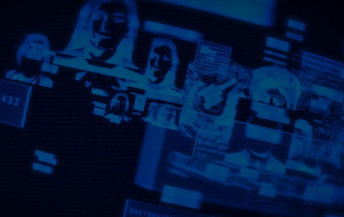 Blue Print Image of Peoples Heads/TV Screens