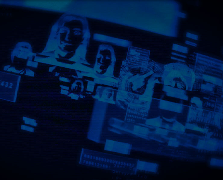 Blue Print Image of Peoples Heads/TV Screens